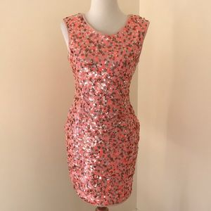 H&M small orange fully sequined sleeveless dress .